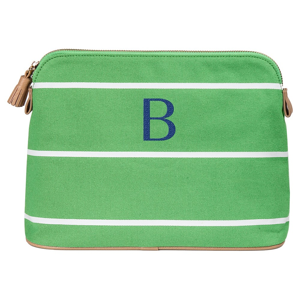Personalized Green Striped Cosmetic Bag - B