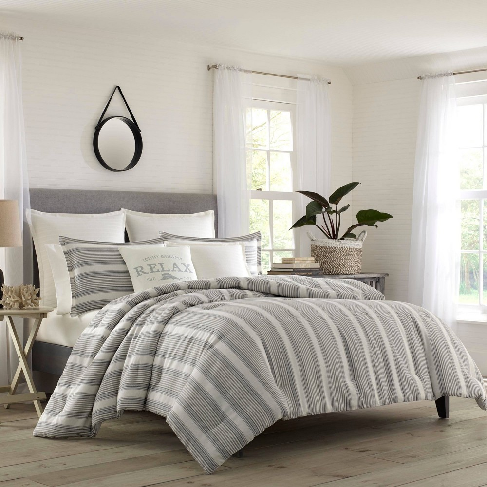 Image of Relax By Tommy Bahama Full/Queen Island Stripe Duvet Cover & Sham Set White