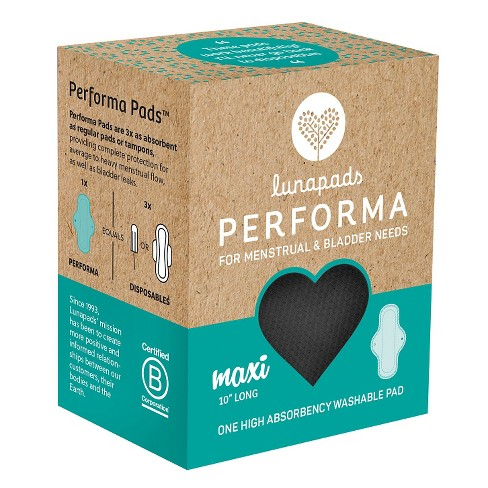 Lunapads Performa High Absorbency Long Black Washable Maxi Pad - 1ct - image 1 of 3