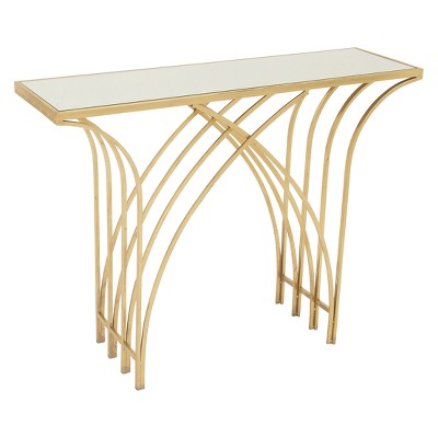 Metal and Mirror Art Deco Console Table Gold - Olivia & May