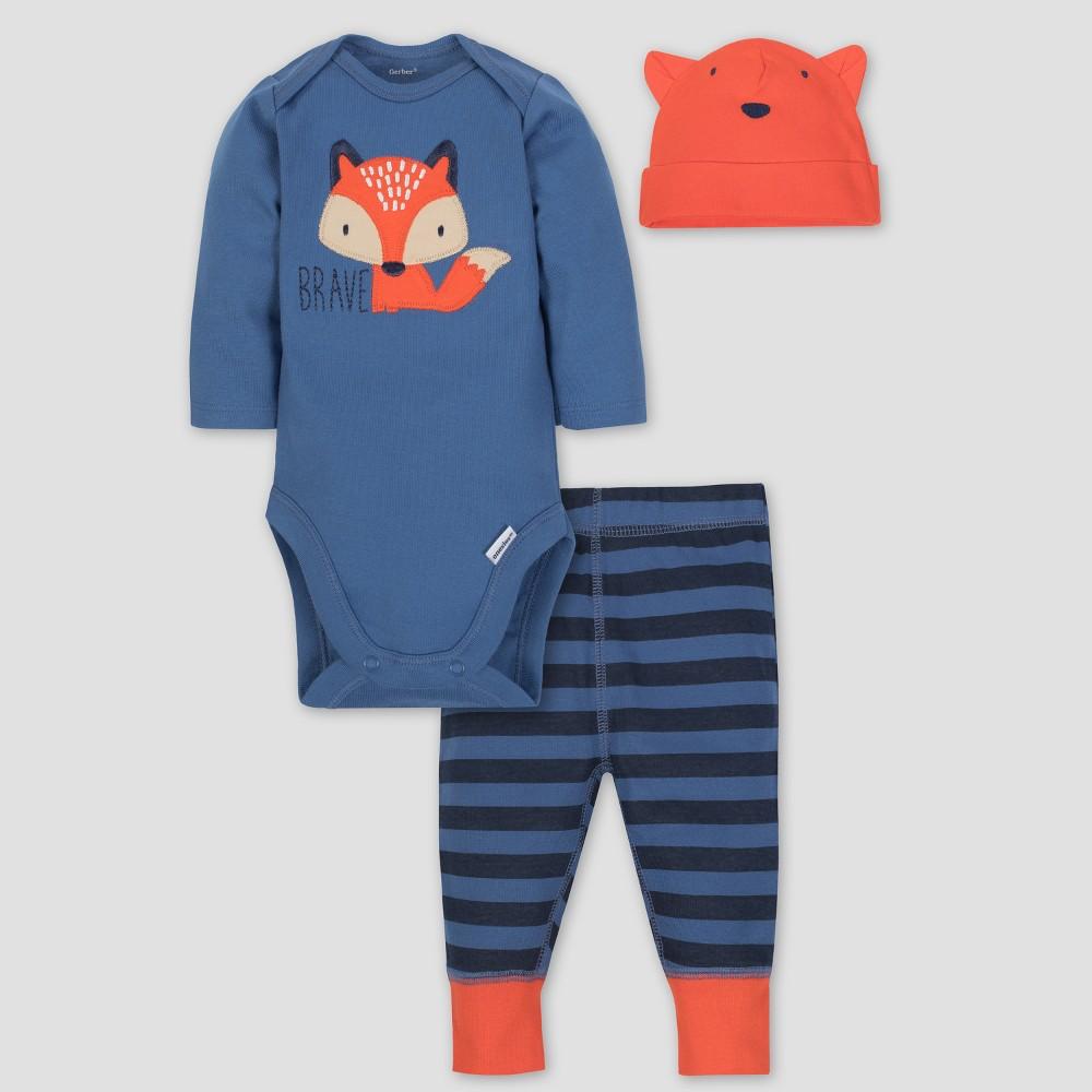 Gerber Baby Boys' 3pc Long Sleeve Bodysuit Cap and Pants Set - Orange 6-9M, Blue