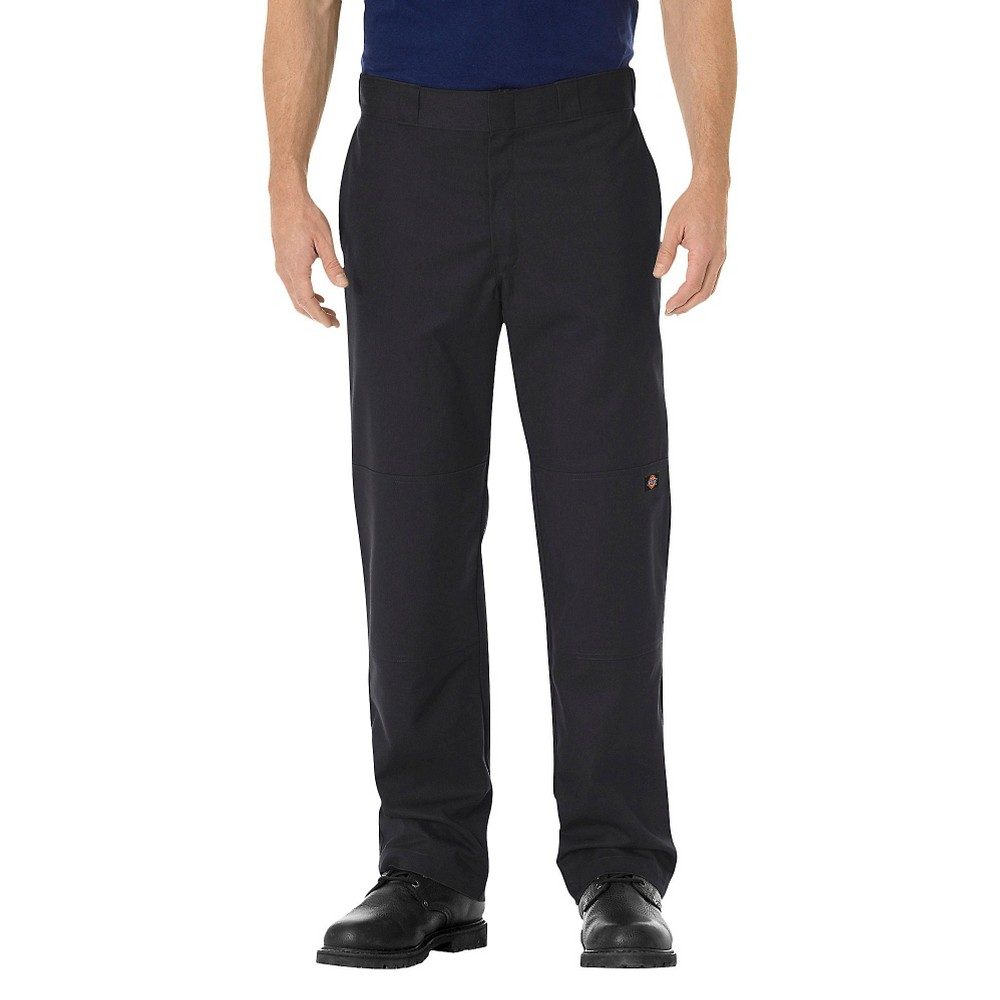 Dickies Men's Regular Straight Fit Flex Twill Double Knee Work Pants- Black 36x32