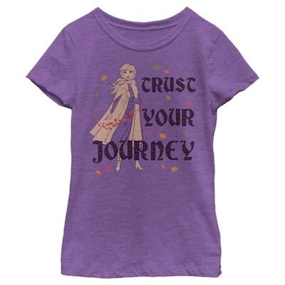 Girl's Frozen 2 Anna Trust Your Journey Pattern Fill T-Shirt