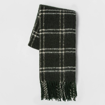 Faux Mohair Grid Throw Blanket Green - Threshold™