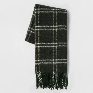 Faux Mohair Grid Throw Blanket Green - Threshold™