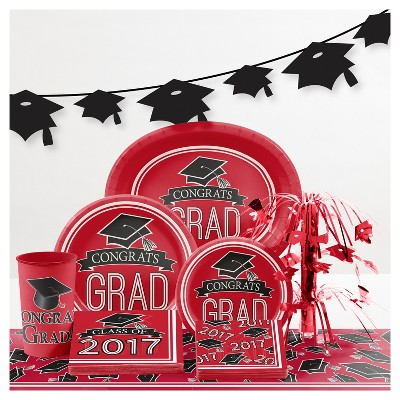 Graduation School Spirit Red Party Supplies Collection