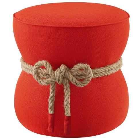 Beat Nautical Rope Upholstered Fabric Ottoman - Modway - image 1 of 4