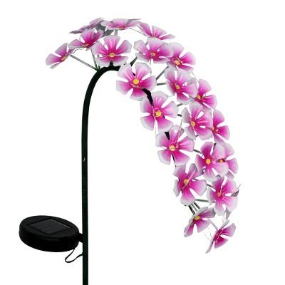 """28"""" Metal Solar Hanging Flower Garden Stake Pink - Exhart"""