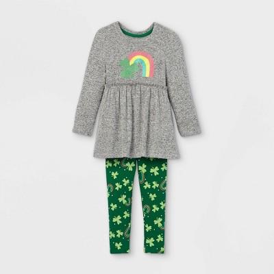 Toddler Girls' Shamrock Rainbow Long Sleeve Top and Leggings Set - Cat & Jack™ Gray