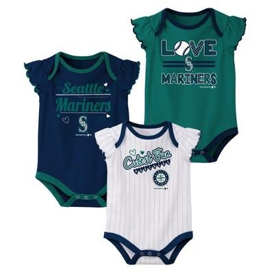 Seattle Mariners Girls' Bodysuit 3pk - 0-3M