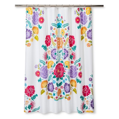 Floral Fiesta Shower Curtain White & Pink - Pillowfort™
