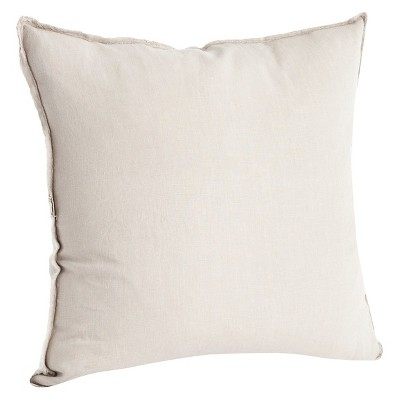 "20""x20"" Oversize Fringed Design Linen Square Throw Pillow Natural - Saro Lifestyle"