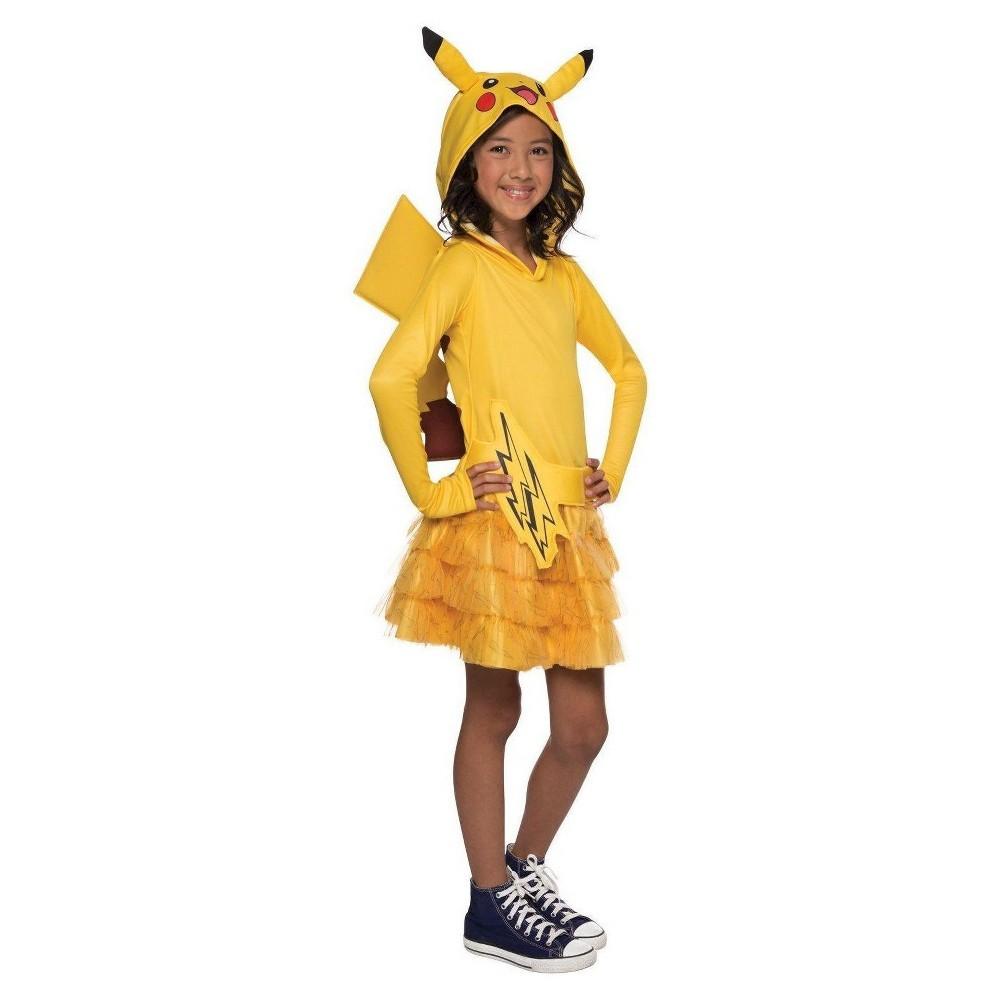 Pokemon Girls' Pikachu Hoodie Dress Costume Large, Size: L(10-12), Yellow