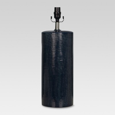 Linen Textured Ceramic Large Lamp Base Dark Blue - Threshold™