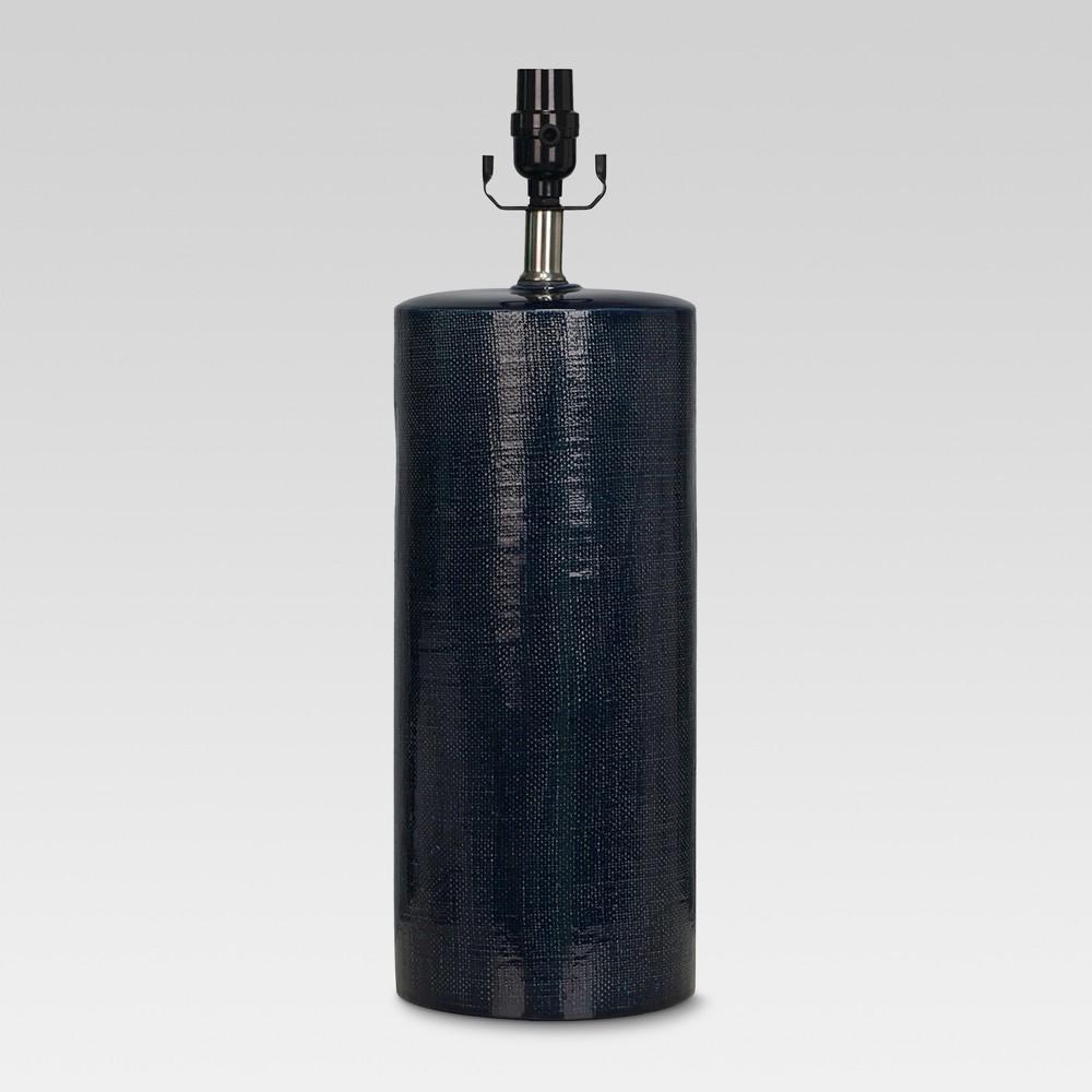 Image of Linen Textured Ceramic Large Lamp Base Dark Blue - Threshold