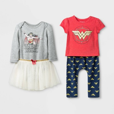 Baby Girls' 4pk Wonder Woman Top and Bottom Sets - 0-3M