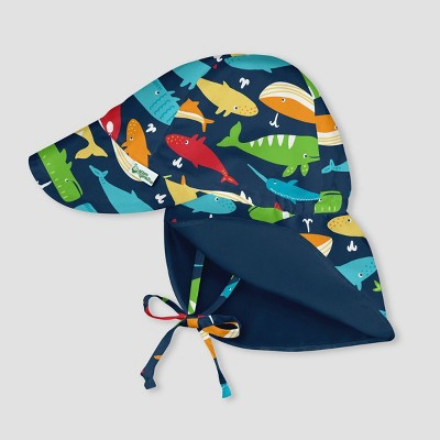 i play by green sprouts Baby Boys' Whale League Reversible Flap Swim Hat - Navy 0-6M