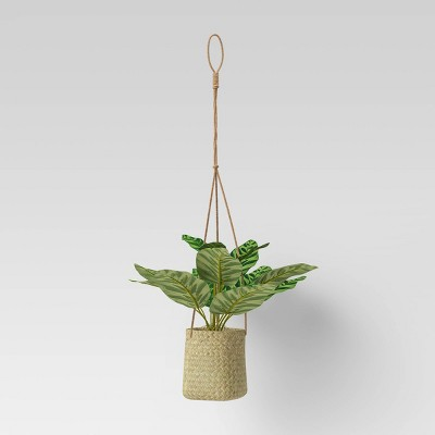 Grass Woven Base Hanging Planter Dark Green - Threshold™