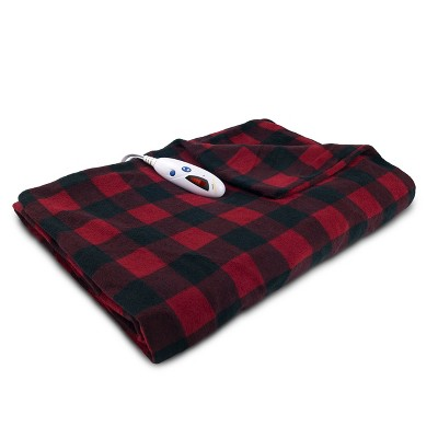 """Microplush Electric Extra Large Heated Throw (72""""x50"""")Red/Black Check - Biddeford Blankets"""