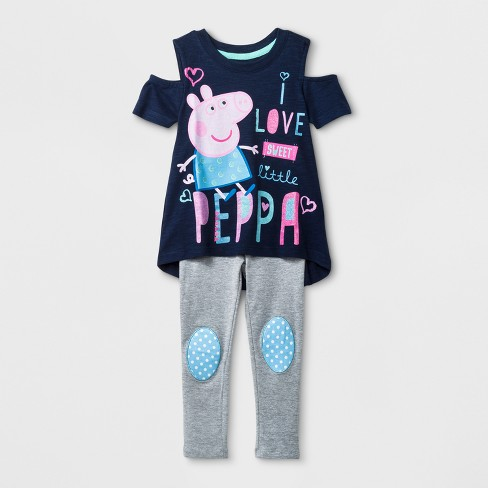 f580c1cd3 Toddler Girls' Peppa Pig Cold Shoulder T-Shirt & Leggings Set - Blue ...