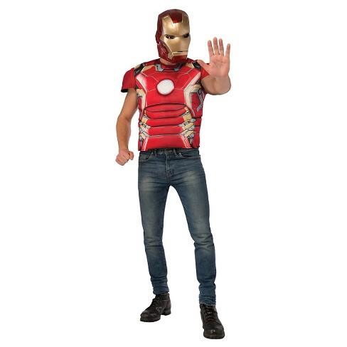 Adult Marvel Iron Man Mark 43 Shirt And Mask Costume One Size - image 1 of 1