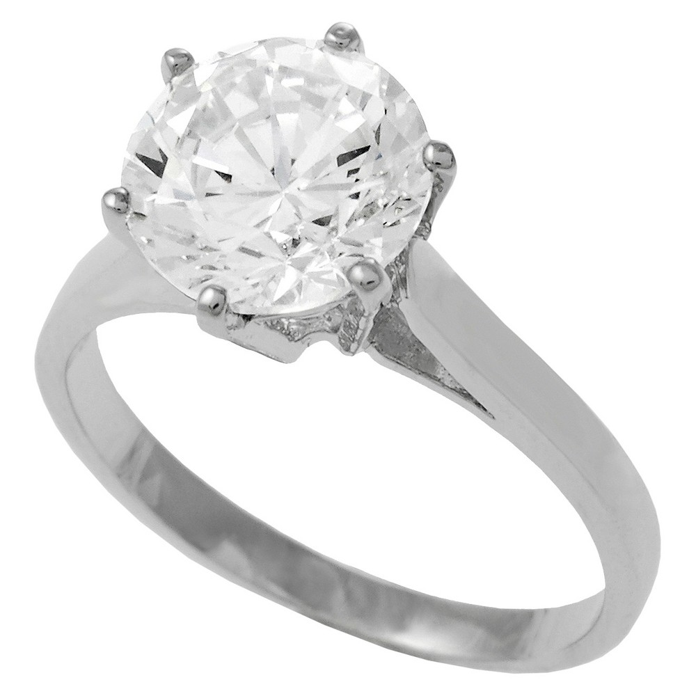 Tressa Collection Sterling Silver Cubic Zirconia Solitaire Bridal Ring - Silver 5, Women's