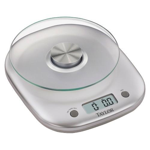 Taylor 11lb Glass Platform Digital Food Scale, Silver
