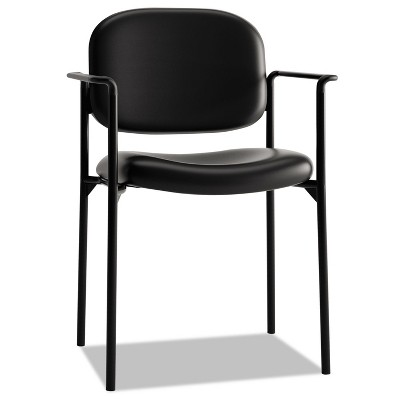 Basyx VL616 Series Stacking Guest Chair with Arms Black Leather VL616SB11