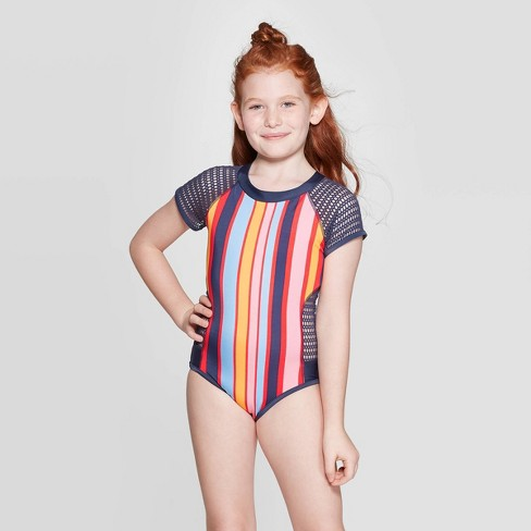 Girls' Cali Cruz'n One Piece Swimsuit - art class™ Blue - image 1 of 3