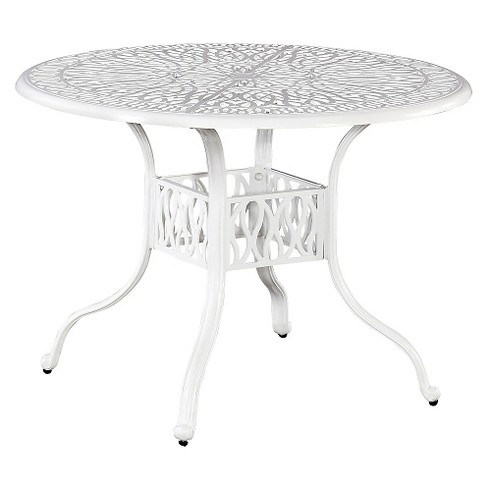 "Home Styles Floral Blossom 42"" Round Patio Dining Table - White - image 1 of 1"