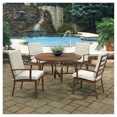 Key West 5pc Round Metal Patio Dining Set w/ Chairs - Chocolate Brown - Home Styles
