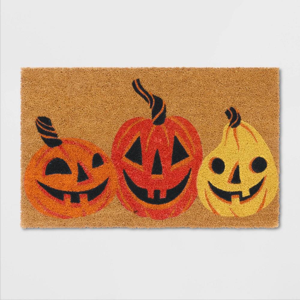 "Image of ""18""""X30"""" Jack-O-Lantern Pumpkins Coir Doormat Yellow - Hyde & EEK! Boutique , Yellow Orange"""