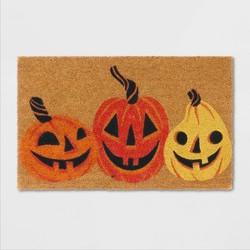 "18""X30"" Jack-O-Lantern Pumpkins Coir Doormat Yellow - Hyde & EEK! Boutique™"
