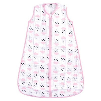 Hudson Baby Infant Girl Muslin Cotton Sleeveless Wearable Sleeping Bag, Sack, Blanket, Clouds And Hearts