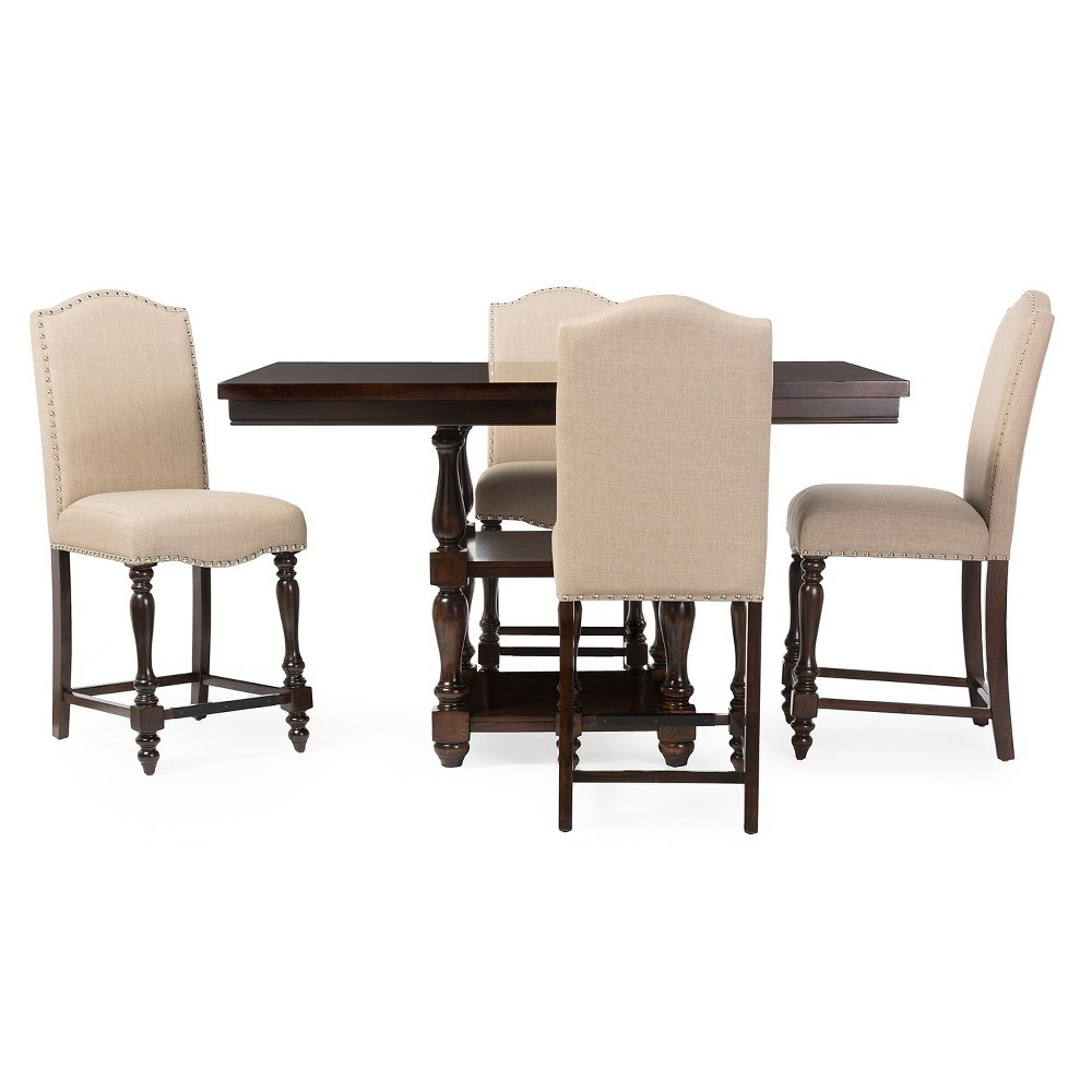 Zachary Chic French Vintage Pub Table Brown - Baxton Studio