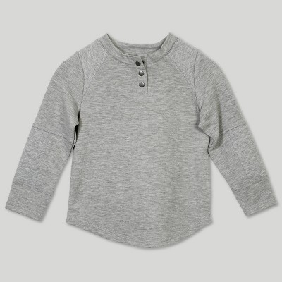 Afton Street Toddler Boys' Quilted Jacquard Long Sleeve Henley - Gray 12M
