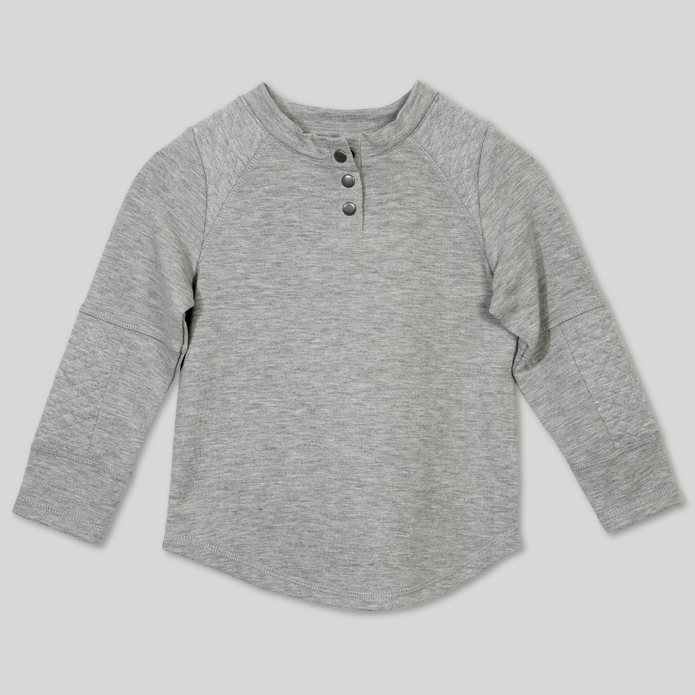 Afton Street Toddler Boys' Quilted Jacquard Long Sleeve Henley - Gray 18M