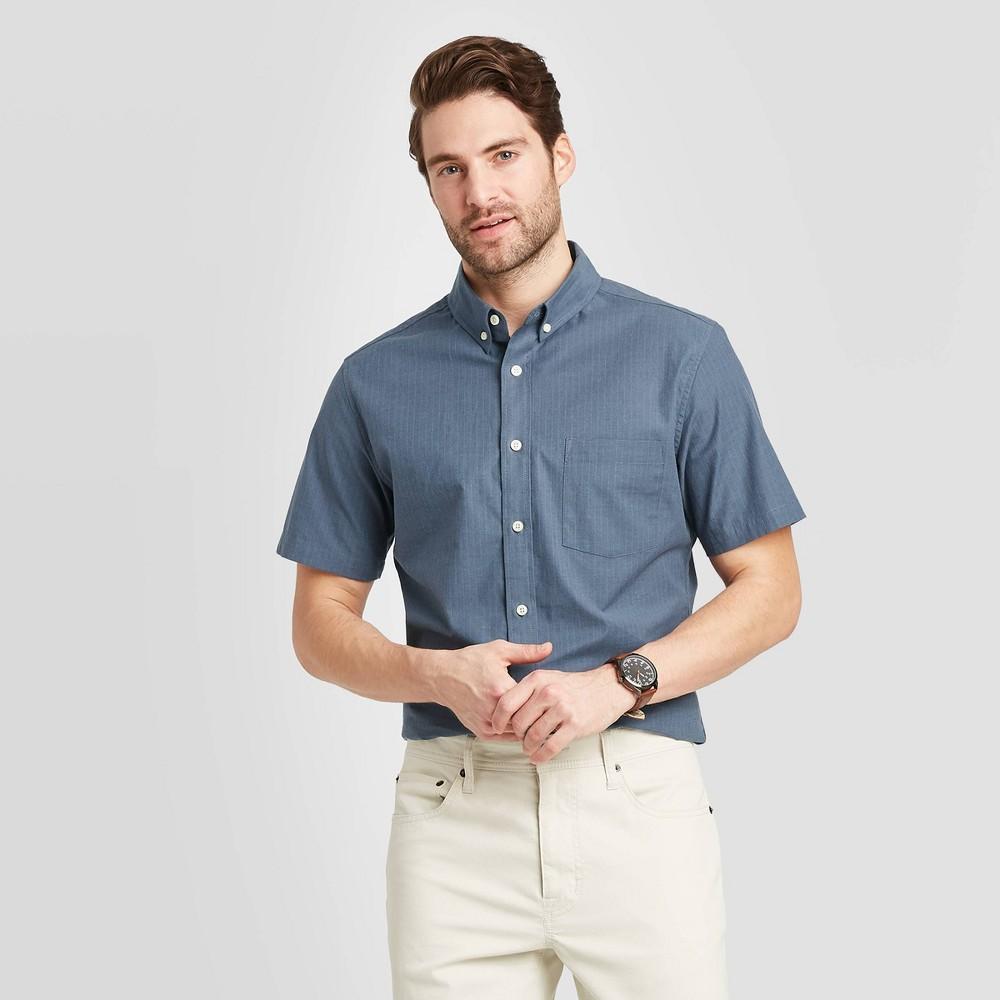Men's Striped Slim Fit Short Sleeve Poplin Button-Down Shirt - Goodfellow & Co Deep Sea Blue XL, Deep Blue Blue was $19.99 now $12.0 (40.0% off)