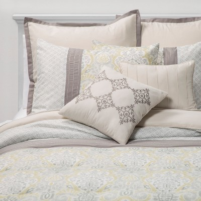 Queen 8pc Hallie Medallion Comforter Set Yellow/Gray - Sunham Home Fashions