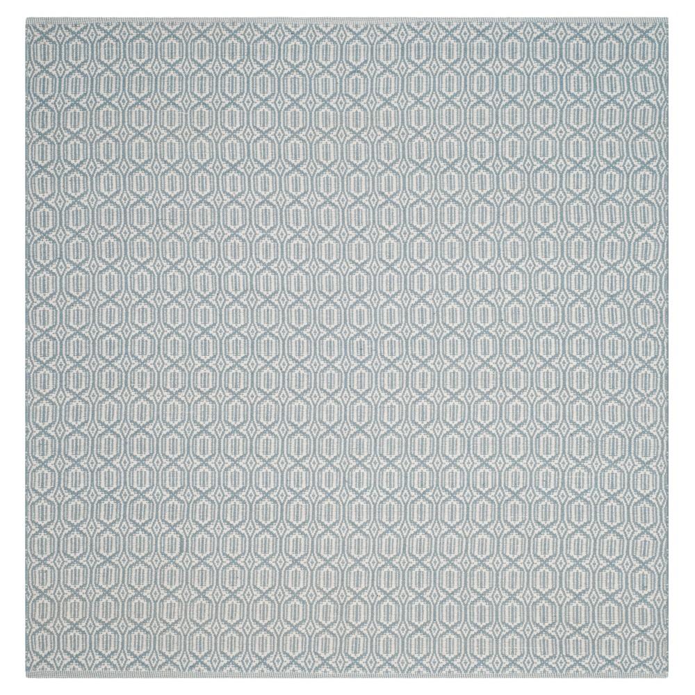 Ivory/Blue Geometric Flatweave Woven Square Area Rug 6'X6' - Safavieh