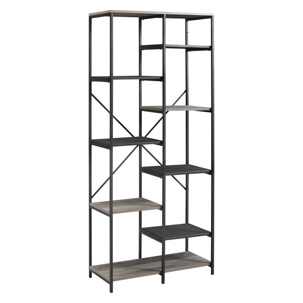 68 Multi Level Mesh and Wood Shelf Gray Wash - Saracina Home