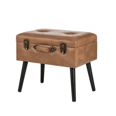 """20"""" Leathaire Upholstered Storage Stool - Glitzhome"""