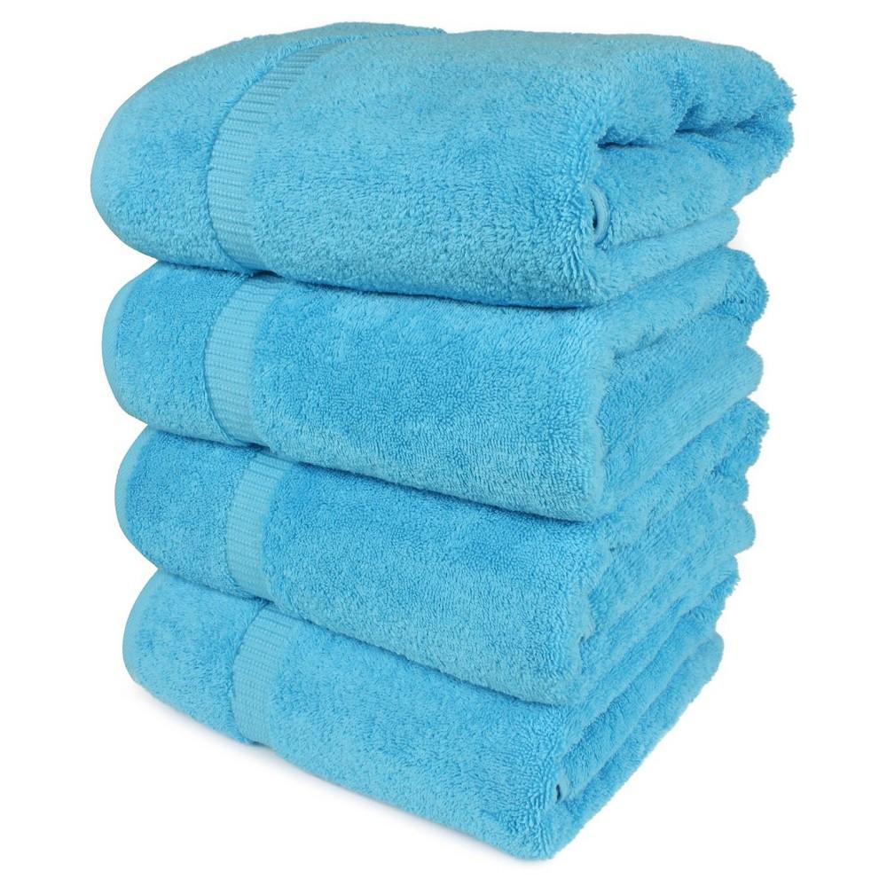 Image of 4pc Villa Bath Towel Set Aqua - Royal Turkish Towel, Blue