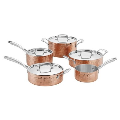 Cuisinart 9pc Copper Hammered Tri-Ply Cookware Set - HCTP-9