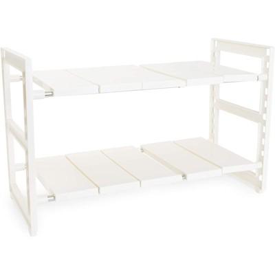 Juvale 2 Tier Under Sink Organizer, Kitchen Cabinet Storage (White, 24.7 x 10.8 x 15.5 In)