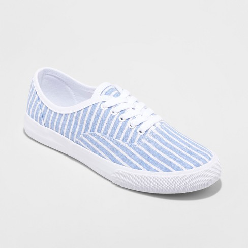 Women's Savannah Canvas Stripe Sneakers Lace up - A New Day™ - image 1 of 3