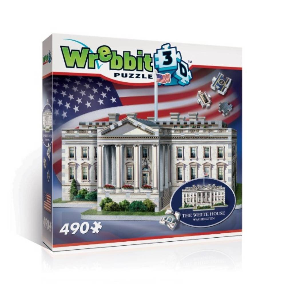Wrebbit The White House 3D Puzzle 490pc Celebrate the beauty of the Executive Mansion with this stunning replica of the White House. Assemble this 490 pieces 3D puzzle for yourself and proudly display the official residence of the President of the United States of America. Assembled Dimensions: 13.5 inches x 12 inches x 9.75 inches. Wrebbit 3D puzzles have snug and tight fitting foam back pieces that are easy to handle. They are the sturdiest 3D puzzles on the market. Highest quality of design and illustration. Made in Canada. Age - 12 and up. Warning: Choking Hazard -- Small parts. Not for children under 3 yrs. Gender: Unisex.