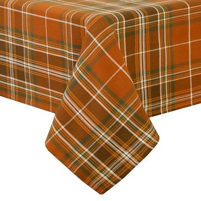Loden Plaid Fall Printed Tablecloth - Orange/Green - Elrene Home Fashions