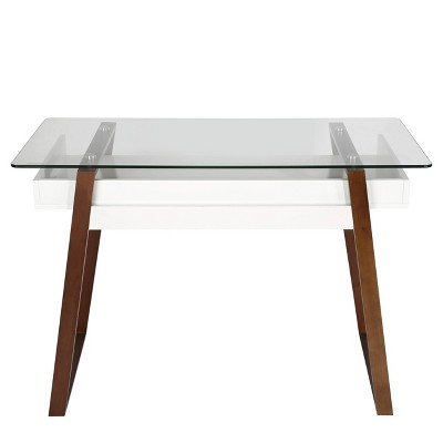 Houston Glass Top Desk Walnut - Poly & Bark