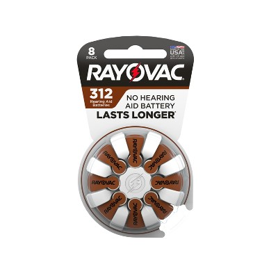 Rayovac Size 312 Hearing Aid Battery 8pk